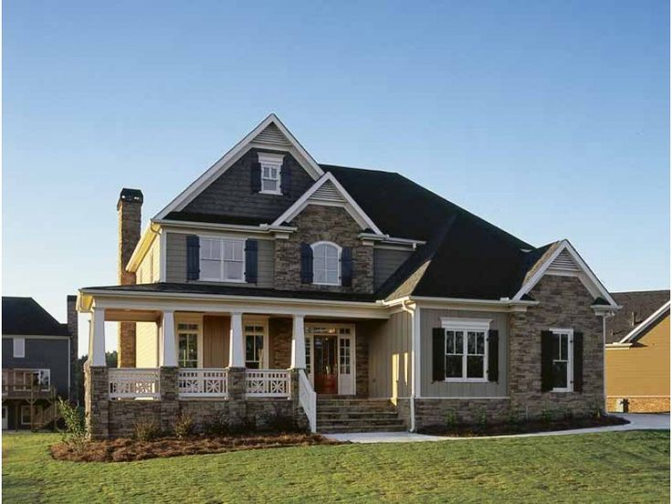 nice stone house plans with porch #1: Stone house plans with porch