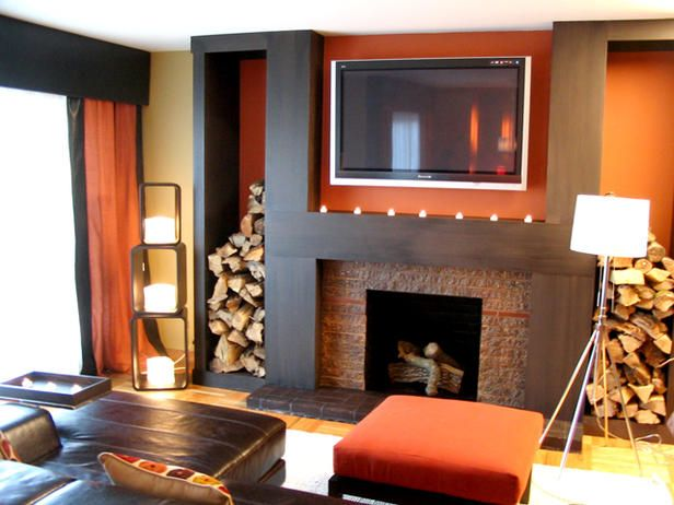 I love the orange in thisDecor, Modern Fireplaces, Warm Colors, Fireplaces Design, Living Room Ideas, Design Ideas, Living Room Design, Livingroom, Firewood Storage