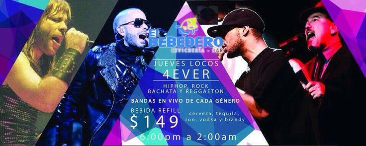 A partir de este jueves tenemos un nuevo concepto para ti con cantante de Hip Hop mujer en vivo, banda de Rock, grupo de Bachata y lo mejor del Reggaeton con promoción de bebida refill por $149.00 desde las 6:00 p.m. Disfrútalo en el Bebedero de la Paloma de La Paz!!!!