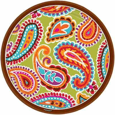 Each plate features a brown border with a colorful paisley center. Measures Includes 8 round paper plates per package.  sc 1 st  Pinterest & 196 best paisley images on Pinterest | Bedroom suites Master ...