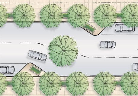 traffic calming, landscape architecture, irrigation, coordination. Plan view rendering of the street with 2 lanes and parallel parking on 2 sides. Enjoy the Green experience, planters. Beautiful!