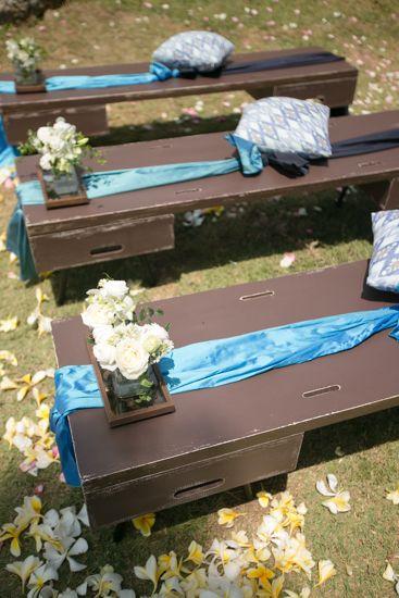 The benches with blue sash by Tirtha Bridal Uluwatu Bali #outdoor #garden #wedding
