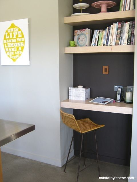 Sitting next to the kitchen this handy nook is the perfect place for recipe books and to keep the tablet near by. The recess is painted in Resene Coffee Bean while the main walls are in Resene Half Napa.