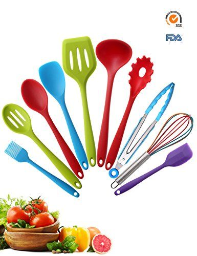 Silicone Kitchen Utensils Set 10 Pieces | Colorful Cooking Utensil | Soft Nonstick Kit with Solid Core | for Home Cooking, BBQ, Baking, Serving, Outdoor, Picnic, Camping, RV, Dorm, Lodge, Dorm, Gadget. For product & price info go to:  https://all4hiking.com/products/silicone-kitchen-utensils-set-10-pieces-colorful-cooking-utensil-soft-nonstick-kit-with-solid-core-for-home-cooking-bbq-baking-serving-outdoor-picnic-camping-rv-dorm-lodge-dorm-gadget/