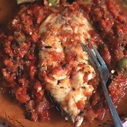 Fish Veracruz-Style..........I made this last night and the sauce is fantastic! The fish I used was a little to fishy for my taste. It would be great with shrimp. Don't add salt or capers if using canned tomatoes.