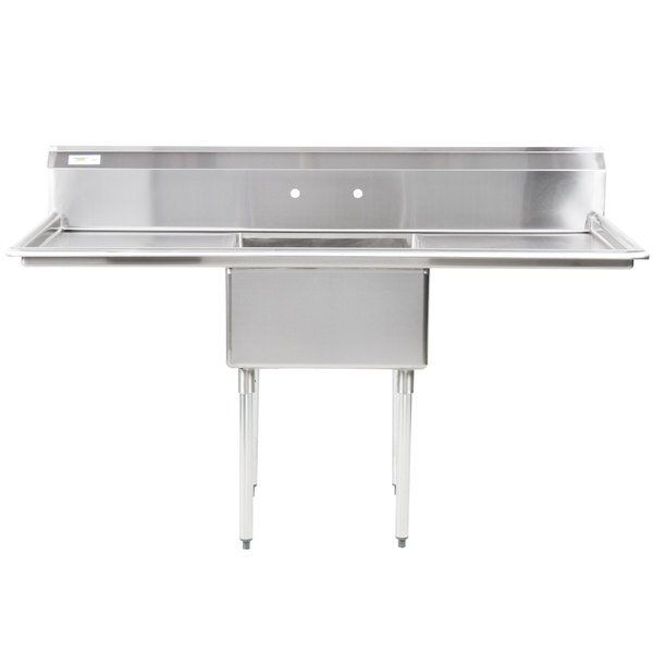 Regency 71 16 Gauge Stainless Steel One Compartment Commercial Sink With 2 Drainboards 23 X 23 X 12 Bowl Commercial Sink Sink Compartment