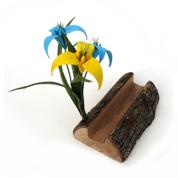 Natural Wooden Organic Rustic Origami Businesscard Holder by Paper Disciple and Tanja Sova. $18.00, via Etsy.
