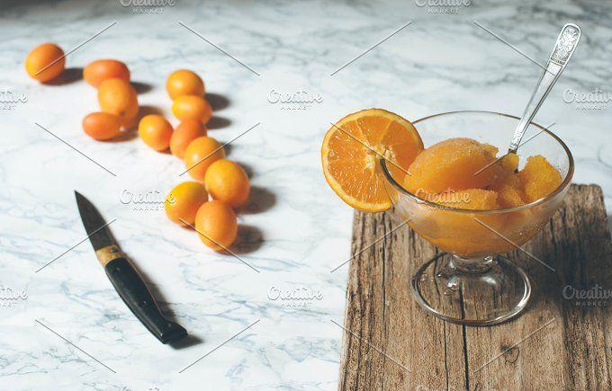 Orange Granita in Cocktail Glasses - Food & Drink