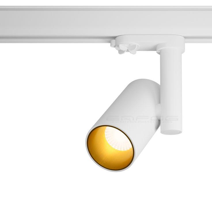 Светильник MERKATA в белом матовом цвете с золотым внутренним обрамлением #трековыйсветильник