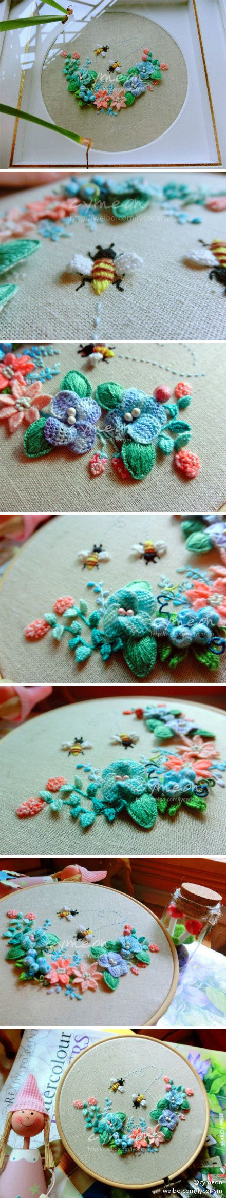 I ❤ stumpwork embroidery. . . love the 3D bees, flowers and leaves