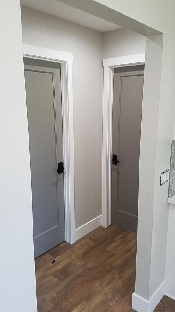 Grey Interior Doors With Oil Rubbed Bronze Hardware Wall Color Is Behr Mineral