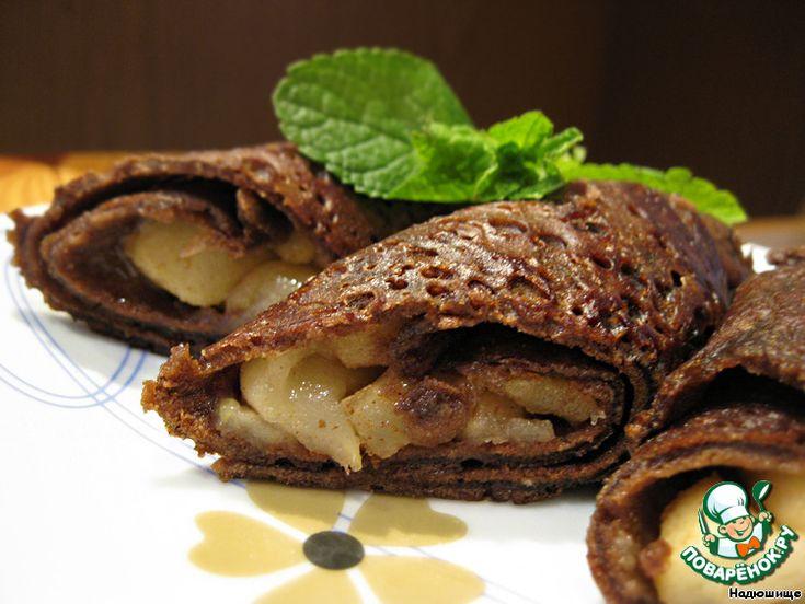 + Шоколадные блинчики с карамельными яблоками