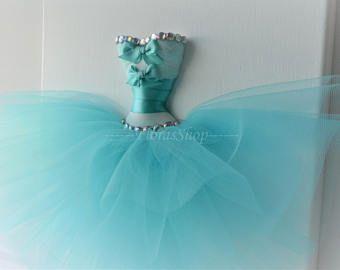 Princess dress wall art. Teal princess dress canvas. A single 10x10 3D tutu dress wall decor.