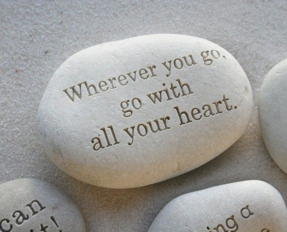 Message Stone custom text on white beach pebble by by sjengraving, $35.00. Different spin on it...paint stones with pretty sayings for guests to take home and have a marker and stone station where guests can leave quotes and messages for the new bride and groom. Good idea or dumb? Food for thought... ;)