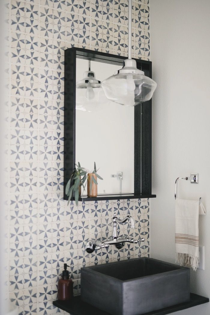 The Reveal: Our Powder Room with Statement Wall Tile