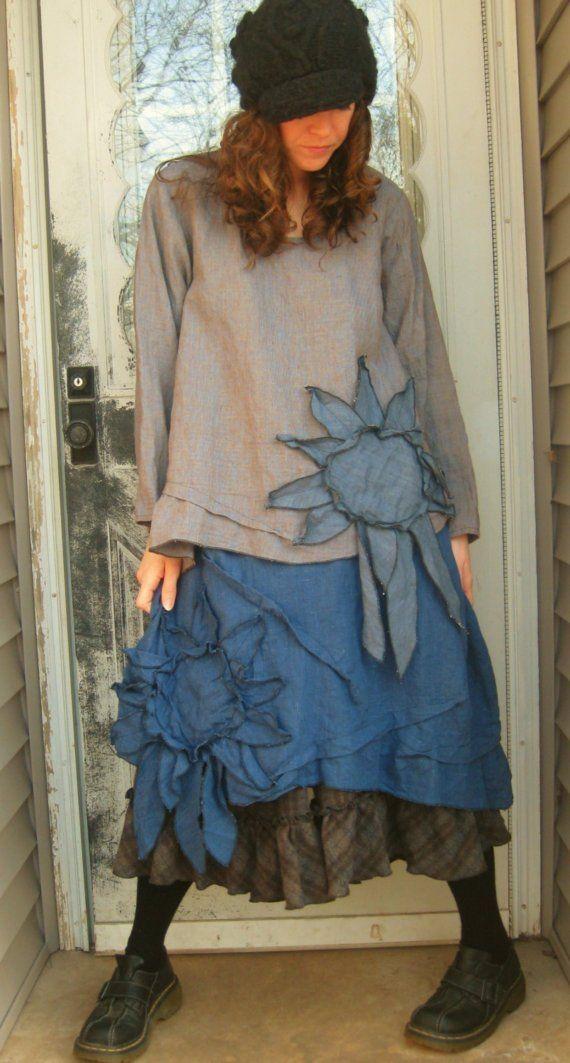 Purplish Linen Sunflower Shirt L by sarahclemensclothing on Etsy