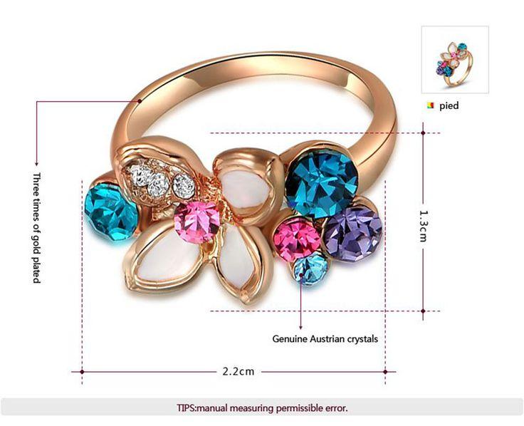GS моды кольцо многоцветный кристалл кольца женщины ювелирных изделий партии кольца розовое золото Цвет ювелирные изделия свадьба обручальное кольцо купить на AliExpress