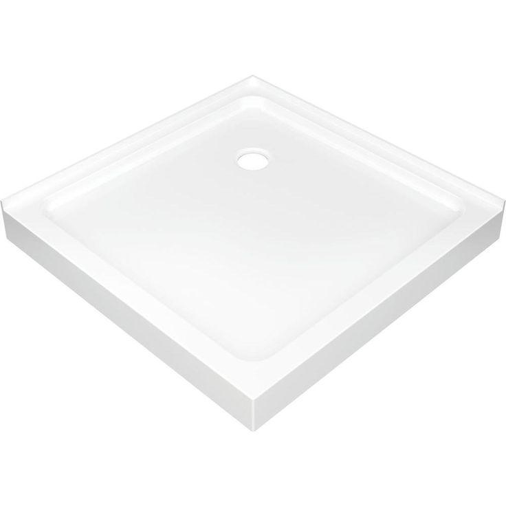 delta 36 in x 36 in double threshold corner shower base in white