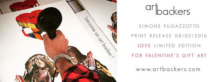 """SIMONE FUGAZZOTTO Art Backers is proud to announce the FIRST Limited Edition of artist Simone Fugazzotto! """"I paint human beings for what we are: as a racistic, stupid, poetic, sick, beautiful..  Simone Fugazzotto Art Backers #monkey #kiss #valentineday #artbackers #simonefugazzotto #heart #giftart #limitededition #print #artwork #art #LOVE"""
