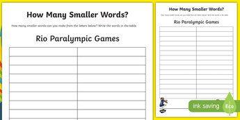 Australian Rio Paralympics 2016 How Many Smaller Words Activity Sheet-Australia