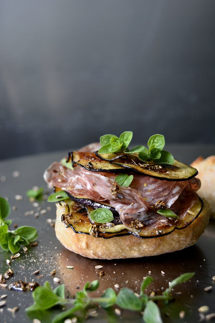 Sautéed Aubergine and Salami Sandwich with Fennel Oil and Fresh Oregano | Eat in My Kitchen