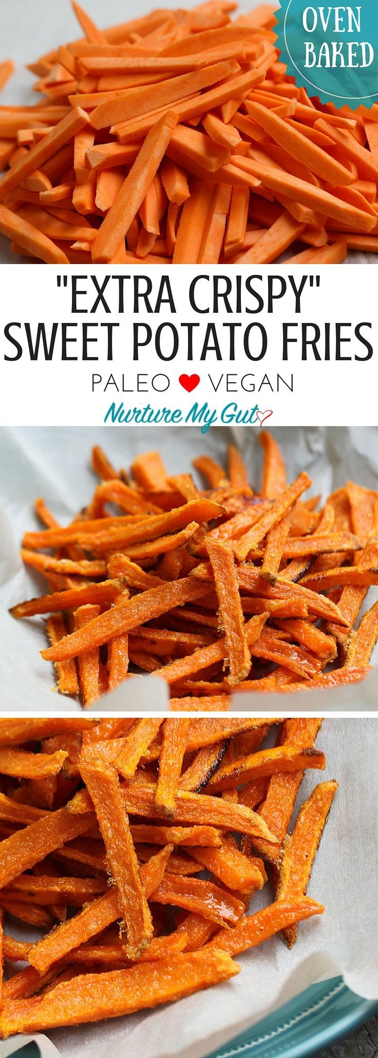 Extra Crispy Baked Sweet Potato Fries.  These fast & easy sweet potato fries are sure to be a family favorite!  Ready in less than 25 minutes.  Paleo, Gluten Free, Vegan.