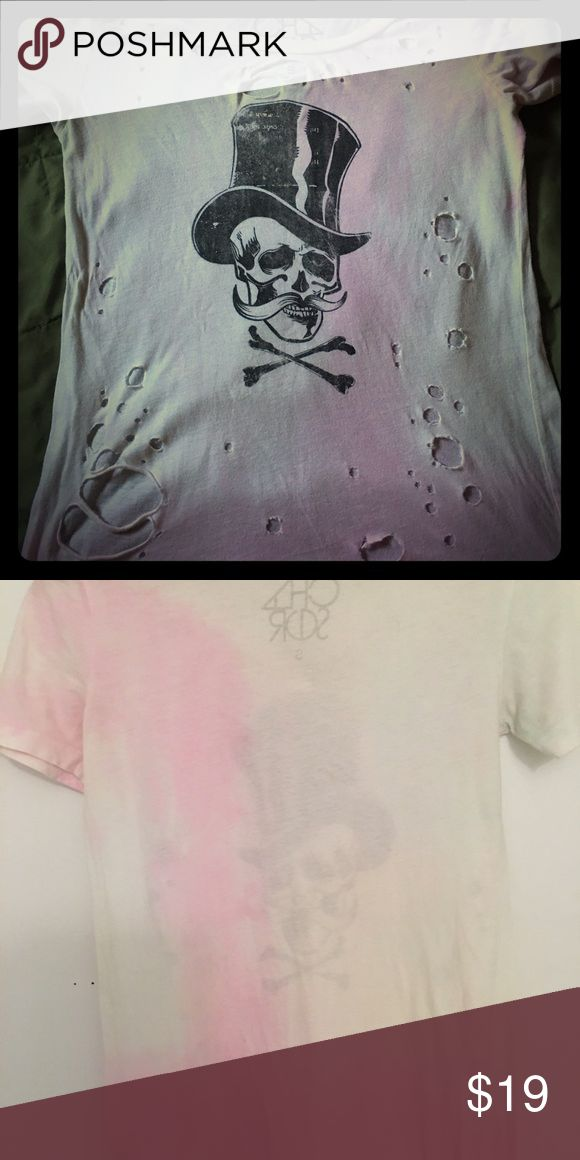 ☠️CHASER BRAND TEE☠️ ☠️🖤Short sleeved destroyed Scull and Crossbones Tee. Light pink and purples throughout shirt. Perfect with jeans, capris or leggings.☠️🖤 Chaser Tops Tees - Short Sleeve