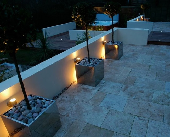 21 best lights lighting exterior images on pinterest exterior pale flag stone pathway to hot tub with dramatic garden lighting mozeypictures Images