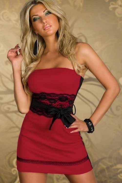 Red Strapless Mini Dress with Lace Cincher Bow Belt