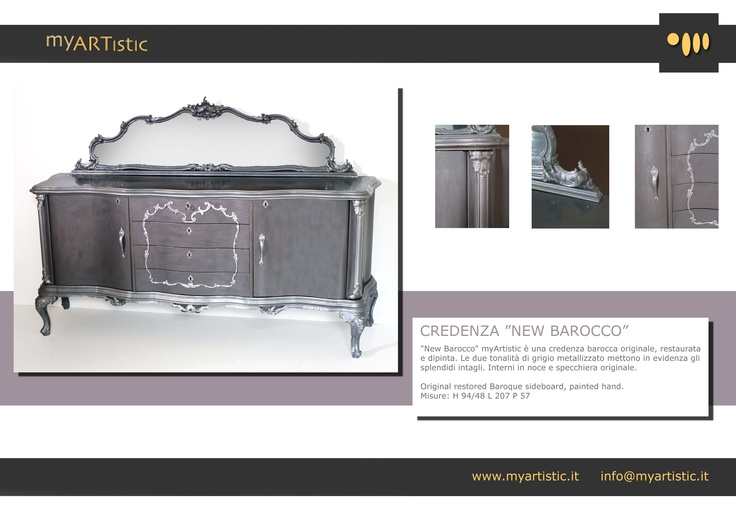 Original restored baroque silver sideboard. By atelier myArtistic www.myartistic.it