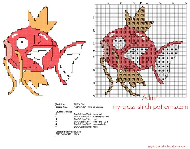 Magikarp Pokemon number 129 free cross stitch pattern