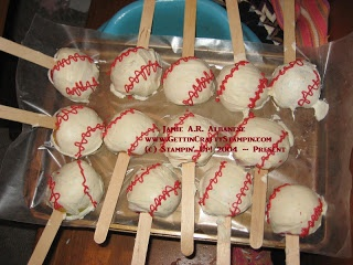 baseball snacks - apples dipped in chocolate