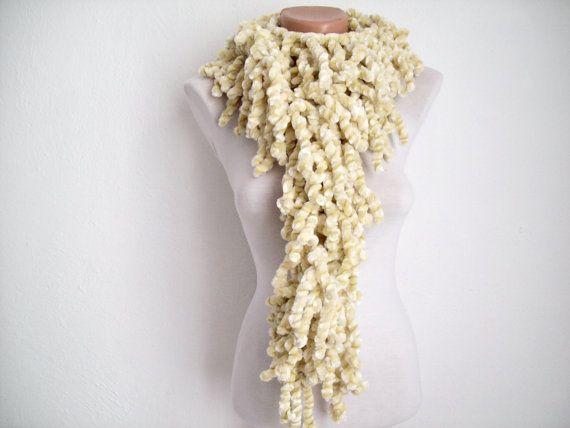 Cream knit scarf  soft velvet  Winter accessories  Fall by nurlu, $15.00