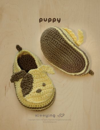 Puppy Baby Booties Crochet PATTERN, SYMBOL DIAGRAM (pdf) *Permission to sell finished items given*