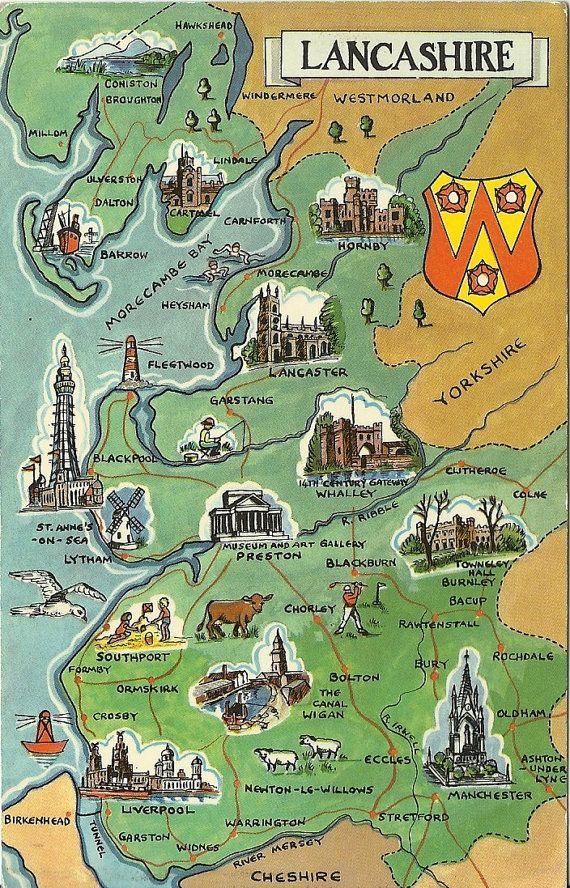 Vintage Postcard Lancashire England   Map  by postcardsintheattic, $6.95