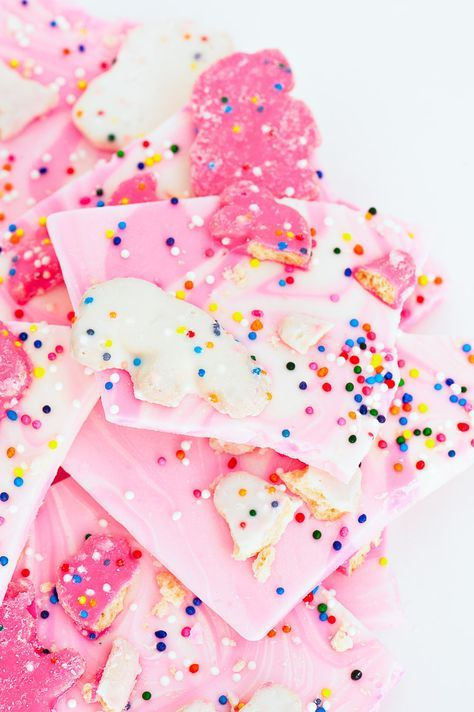 Frosted Circus Animal Cookie Bark.