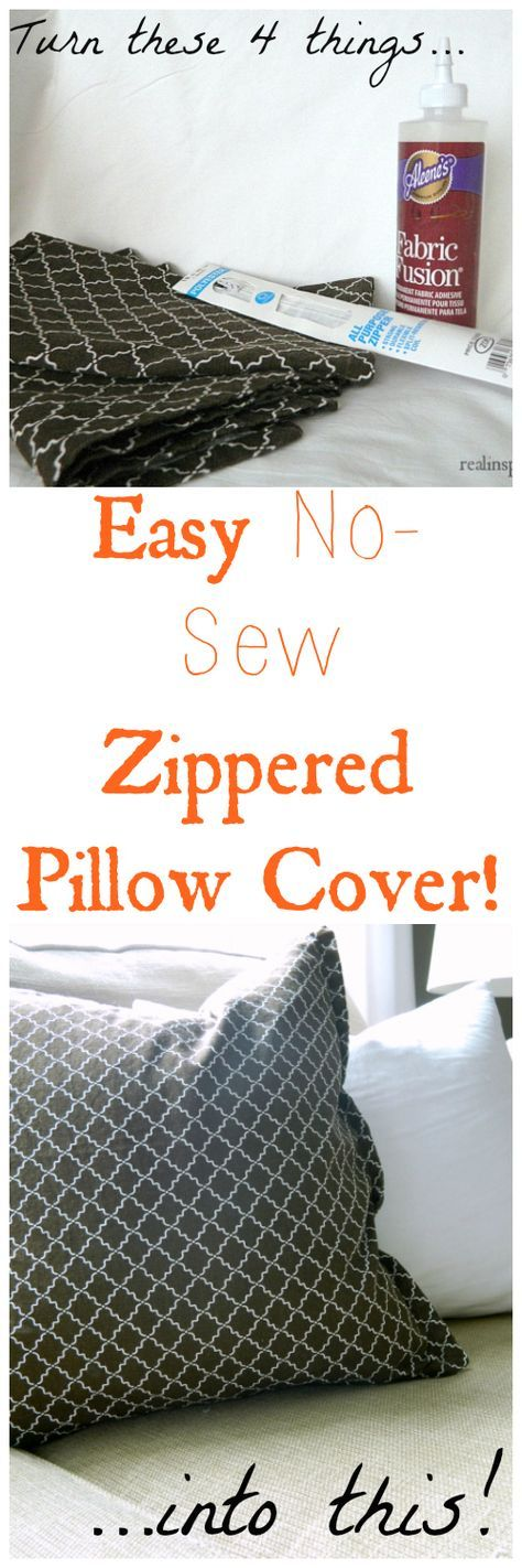 A DIY No-Sew Zippered Pillow Cover! Completely no-sew but it has a zipper! What is this life?! www.realinspiredblog.com