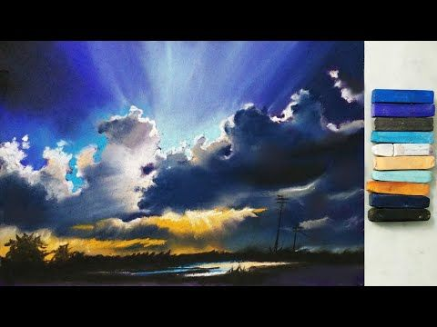 Landscape drawing for beginners with pastels - Scenery drawing - Soft pastel drawing - YouTube