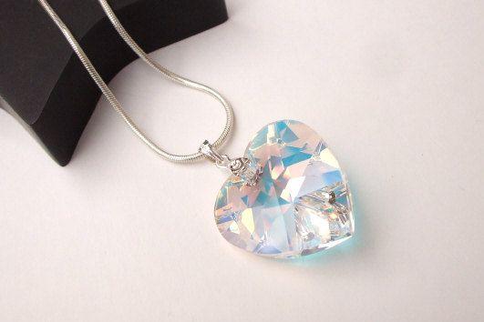 AB Swarovski crystal heart necklace by SheRocksGemjewellery