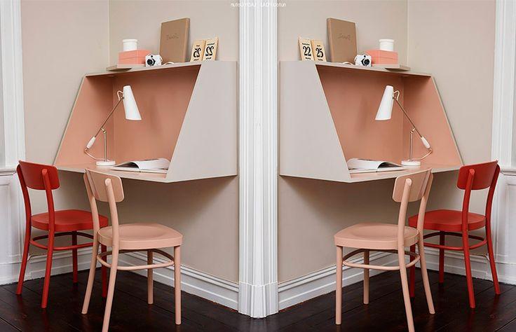 Passo-a-passo para fazer uma escrivaninha moderna de MDF, perfeita para pequenos espaços! - http://www.dcoracao.com/ - http://lady.inspirasjonsblogg.jotun.no/lag-ditt-eget-skrivebord/
