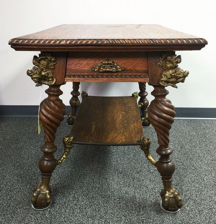 C1890 Beau Arts Library Table, Merklin Brou0027s (1885 1897), Oak,
