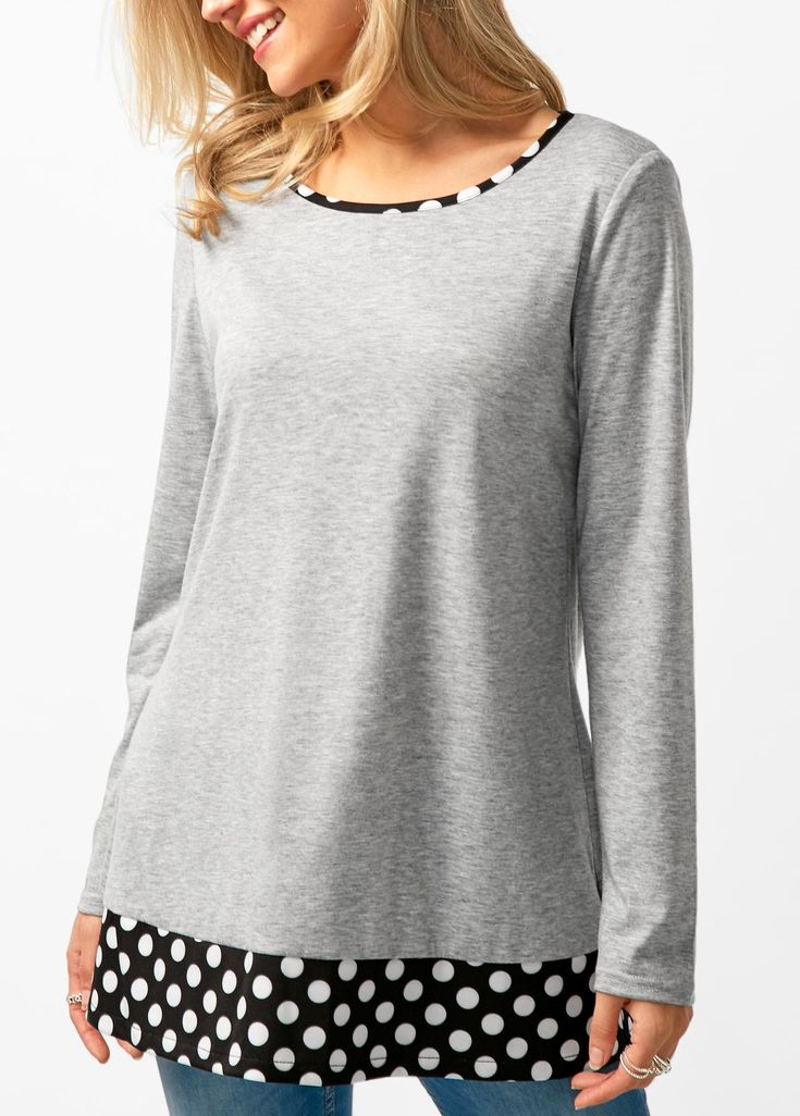 Patchwork Button Back Grey T Shirt on sale only US$30.16 now, buy cheap Patchwork Button Back Grey T Shirt at liligal.com