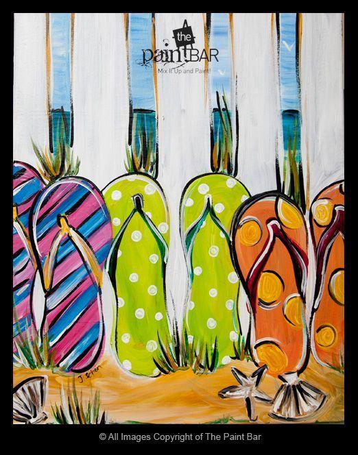 Great Summer project. Beach Flip Flops Painting - Jackie Schon, The Paint Bar