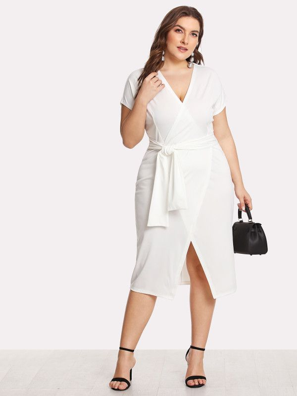 Shop Self Belted Surplice Wrap Dress online. SheIn offers Self Belted Surplice Wrap Dress & more to fit your fashionable needs.