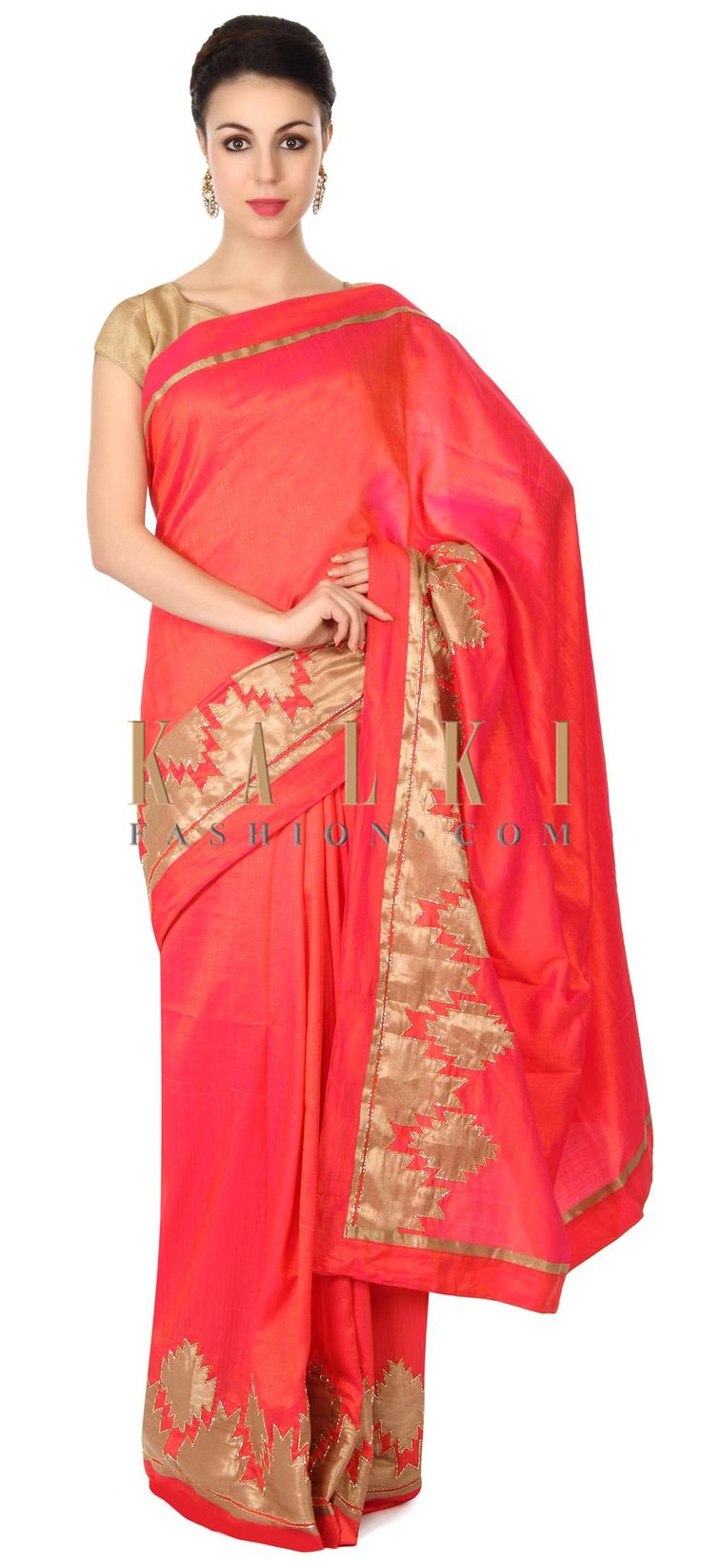 Buy this Coral saree in appliqué and kardana border only on Kalki