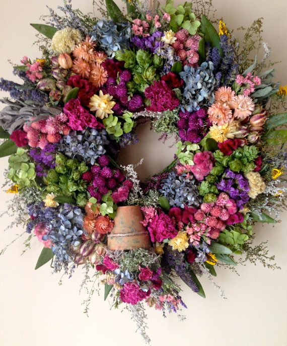 Drying  your own flowers for year round pleasure.  Dried Flower Wreath-CloverHollowDesigns