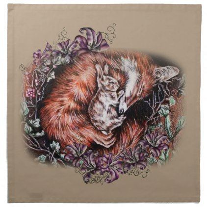 Drawing of Red Fox and Bunny Animal Art and Lilies Cloth Napkin - decor gifts diy home & living cyo giftidea