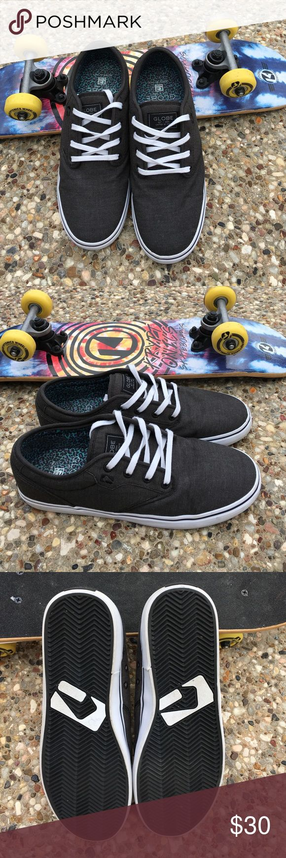 Men's Canvas Skateboard Sneakers By Globe 9.5 These shoes are in great condition. My son only wore them a few times. No noticeable flaws. Really comfy Very clean inside and out. They are a light black color. Globe Shoes Sneakers