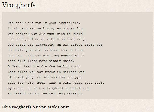 #Afrikaans #poësie Vroegherfs - NP van Wyk Louw