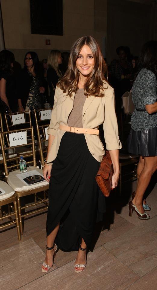 :: Olivia Palermo - Black Maxi & Neutral Shades Tee, Jacket & Belt. Beautifully put together ::